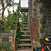 Steps to the signal cabin at Saintfield railway station.