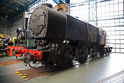 """OVS Bulleid's austerity 1942 design of 0-6-0 class Q1, the number is C1.  The unusual numbering system is American and the """"C"""" denotes three driving axles.  These odd looking locos were designed for freight use only.  This loco used to run on the Bluebell Railway."""