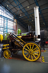 A replica of Stephenson's Rocket being in sectioned to show the internal design.  The multiple tube boiler was a revolution and never seen before and every boiler since has used this design.