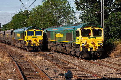 Another view of the two Freightliner Heavy Haul locos in Holgate Sidings. 66556's train is not known.