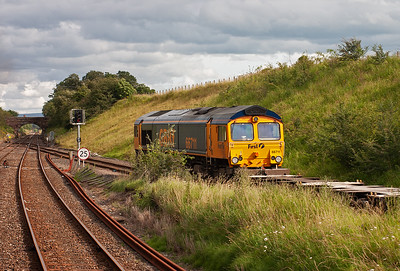 The trip back to Manchester from Carlisle went via the Settle and Carlisle route. GBRf 66711 waits at the exit signal at Kirkby Thore with 4E16 1717 Newbiggin to Doncaster empty gypsum containers.