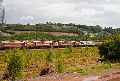 Six class 37 locos are visible in this shot including EWS liveried 37 668, 37706 and 37717.