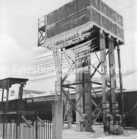Water tower at Aylesbury Town Station, Jan 19 1963