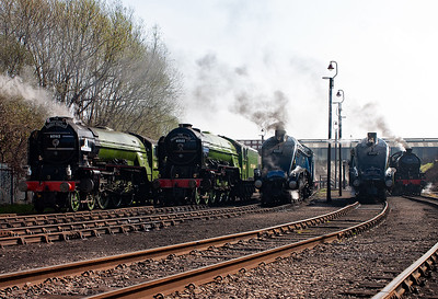 An impressive line up of former LNER locos, classes A1, A2, A4 and K1. It was a real shame that A3 4472 Flying Scotsman was not available.
