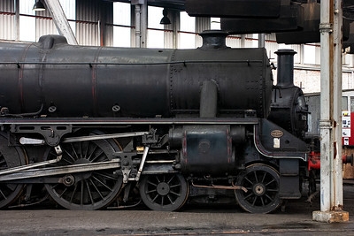 Black Five 45110 looks the part in the shed. I have worked support crew and been on the footplate on the mainline with this engine when it was based on the Severn Valley Railway.  It participated in the 15 Guinea Special railtour to mark the end of BR steam on 15th August 1968.