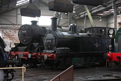 41708 is a class 1F 0-6-0T loco designed by Johnson for the Midland Railway in 1878 and is the only one preserved.  It ran for a few years at Swanage as a half cab.