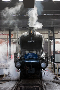 John Cameron's A4, 60009 Union of South Africa stands inside Barrow Hill's former Midland Railway square roundhouse on the 56 foot diameter turntable, too short to turn it.