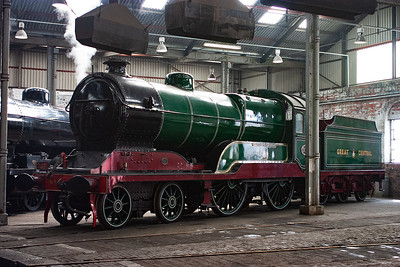 Robinson's 1920 design for the Great Central Railway poses inside the square roundhouse.