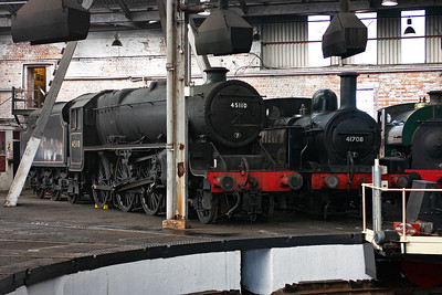 A varied selection of locos was inside the shed on display. Included are former Midland railway 1F 0-6-0 41708 and ex LMSR Black Five 45110.
