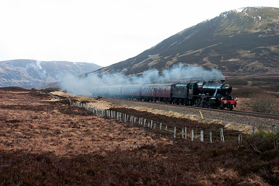 Still with several hundred yards of the climb to go, the steam loco is coasting with 37248 pushing at the rear.  The train passes onwards to Inverness and I would see the loco there in a few weeks time for the Great Britain railtour. Now to head home.