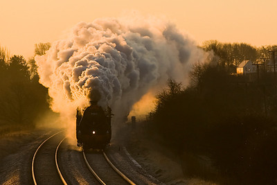 """A few minute after sunrise 44871 leads 45407 past Blackrod with 1S67 - """"The Waverley """"- Manchester -Carlisle excursion on 28/1/12."""