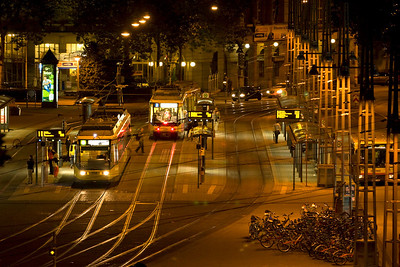 Trrams outside the Hauptbahnhof Karlesruhe on the evening of 12/09/12