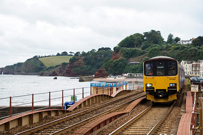 150120 and 153318 with the 11:49 Paignton to Exmouth service approaching Dawliash station.