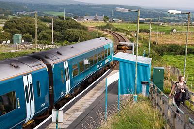 158829 at Llandanwg Station with the 17:45 Pwllheli to Machynlleth service.