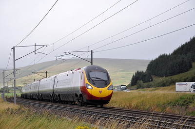 Virgin Pendolino just south of Crawford with a Glasgow to Euston service on the 9th of September 2011.