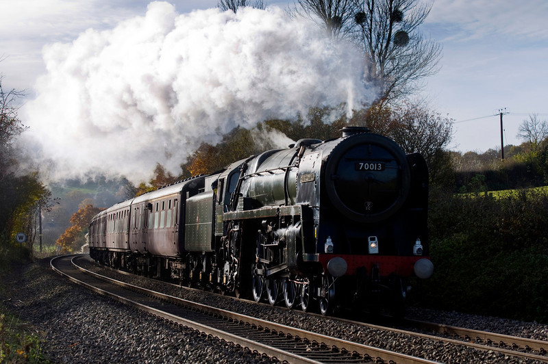 BR Britannia Class 7MT 4-6-2 no 70013 Oliver Cromwell with a special from Bristol to Crewe via Chester. Seen here near Hope under Dinmore.