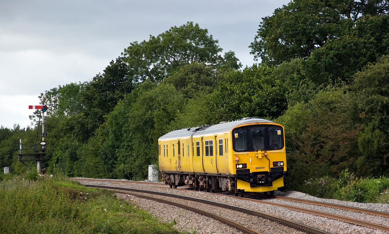 950001 Network Rail track assessment unit seen here just north of Tram Inn on the 4th Aug 2012