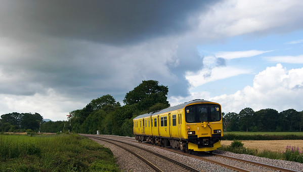 950001 Network Rail track assessment unit seen here just north of Tram Inn on the 4th Aug 2012.