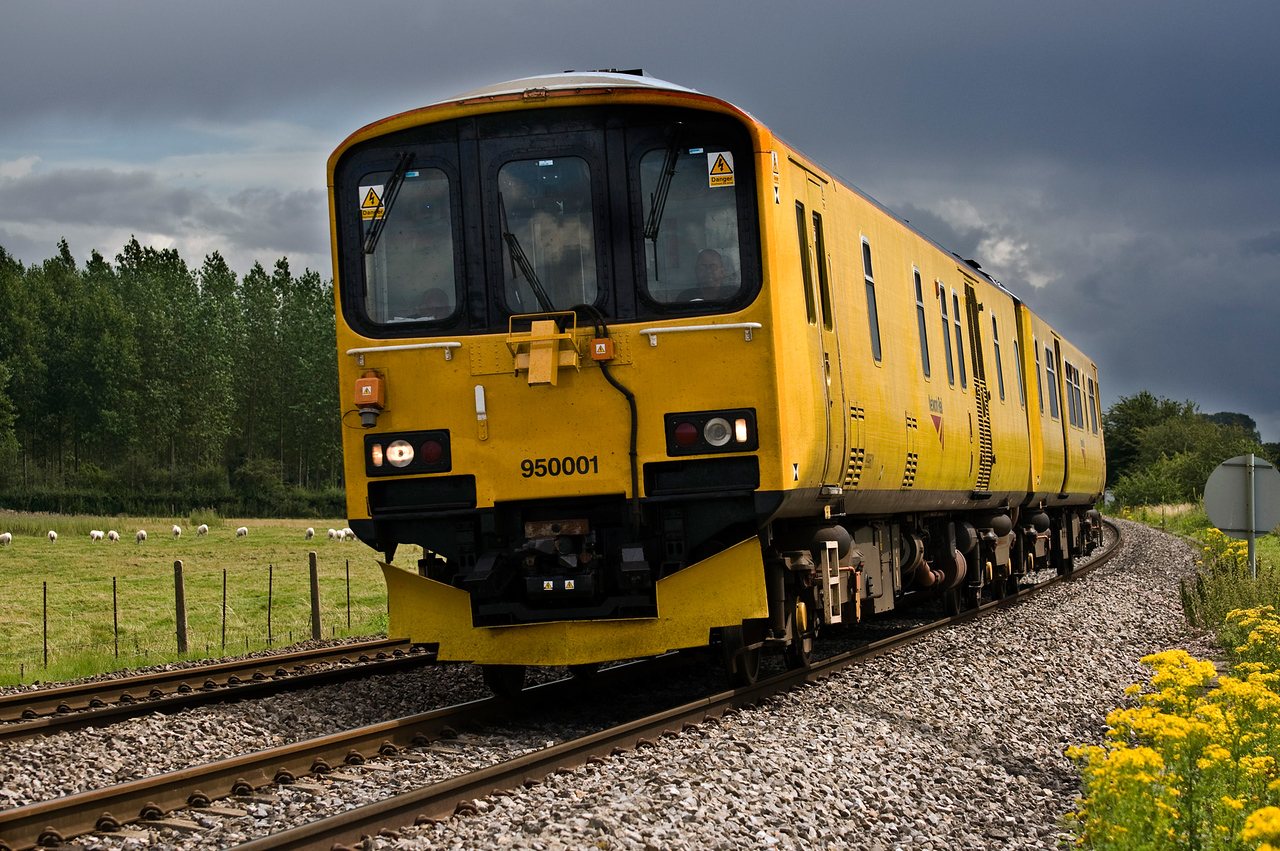 950001 Network Rail track assessment unit seen here near Moreton on Lugg on the 4th Aug 2012.