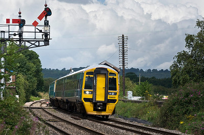 158830 with the 1V55 0820 Holyhead to Cardiff Central service seen here at Moreton on Lugg.