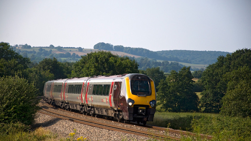 221134 heads the 11:05 Edinburgh to Penzance service. Seen here at Box Farm on diversion due to engineering works.