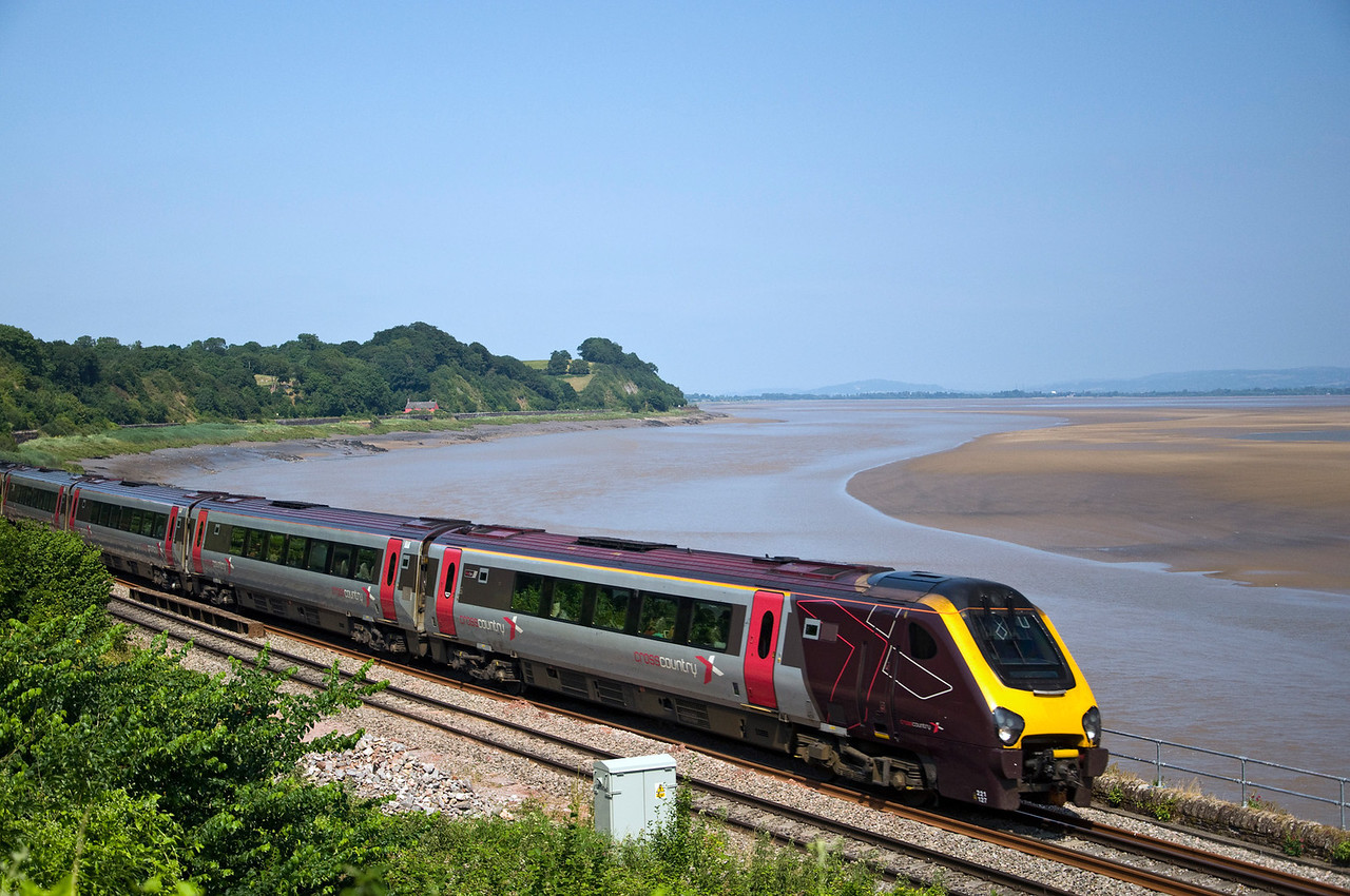 221127 with the 09:08 Edinburgh to Plymouth seen here at Purton, by the River Severn, on diversion.
