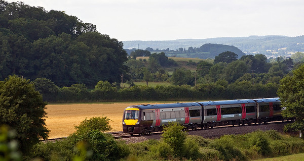 The 10:45 Cardiff Central to Derby service near Churcham on the 28th of July 2013.