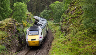 Going away shot of 43300 bringing up the rear on East Coast's 1E17 09:40 Inverness to Kings Cross service just after passing over Slochd Viaduct.