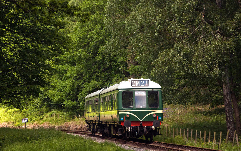 Dean Forest Railway's Class 108 DMU arriving at Parkend which is just round the corner. seen here on the 9th of June 2013.