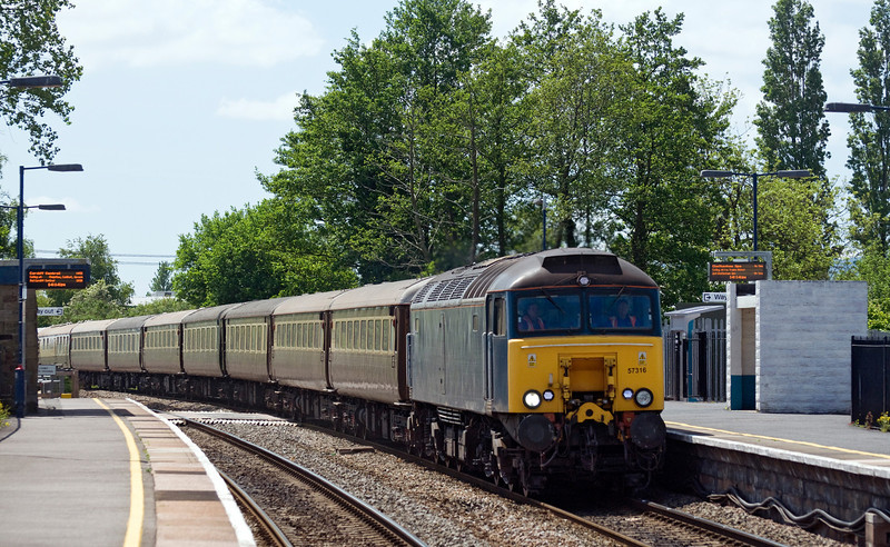 57316 leads empty Northern Belle stock forming 5Z89 13:39 Pengam Sidings to Carnforth Steamtown. 57315 is bringing up the rear. Seen here at Lydney station on the 9th June 2013. Bit disappointed to find the signal box gone.