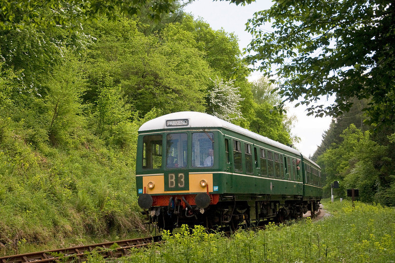 Dean Forest Railway's Class 108 DMU between Whitecroft and Parkend on the 9th of June 2013.