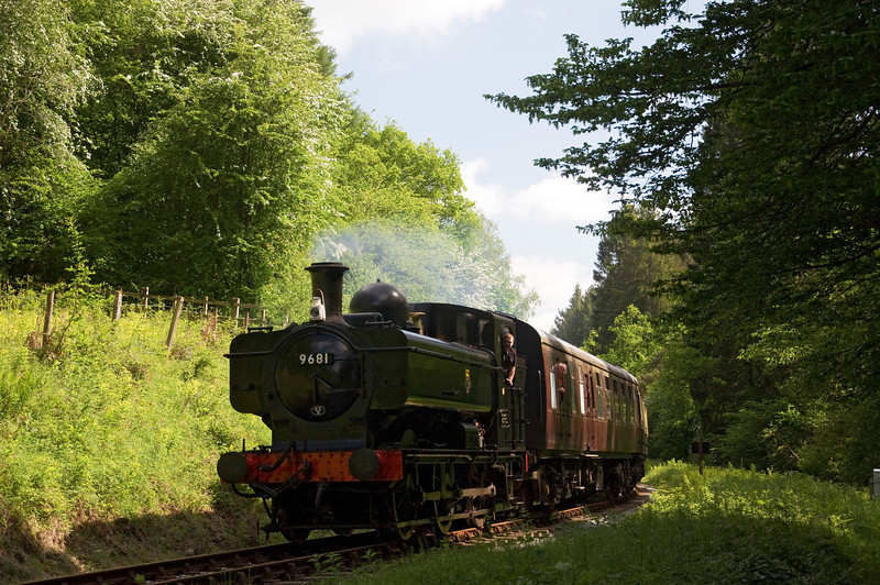 9681 Pannier Tank between Whitecroft and Parkend on the 9th of June 2013.