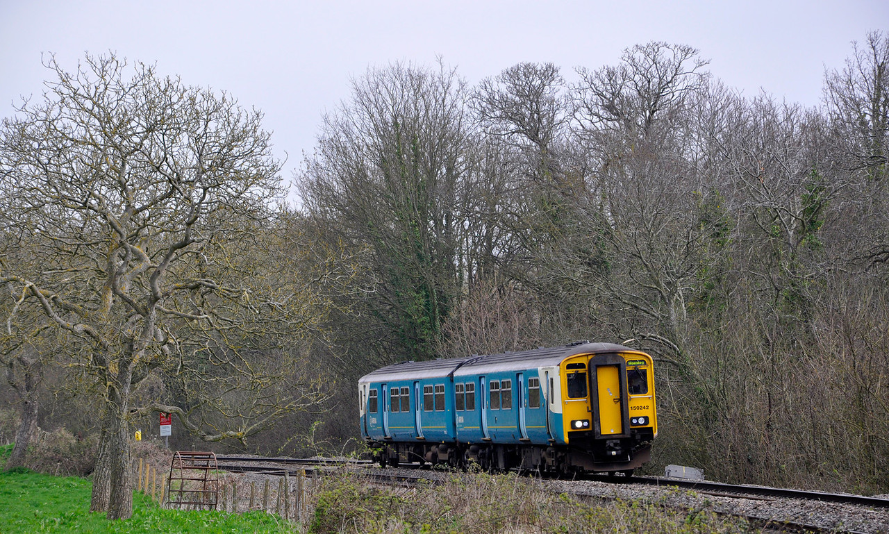 150242 with the 2L53 1045 Cheltenham Spa to Maesteg service near Purton.