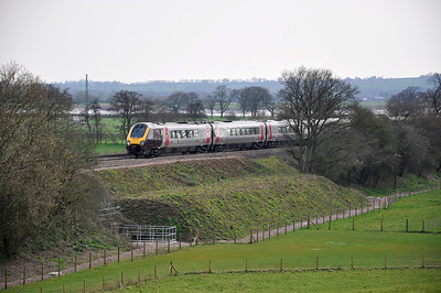CrossCountry Voyager heading north, on diversion, near Westbury on Severn with the 13:19 Exeter St Davids to Edinburgh service.