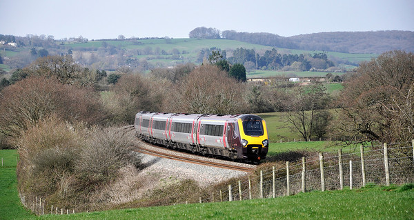 Cross Country Voyager heading south near Box Farm with the 09:30 Newcastle to Exeter St Davids service.
