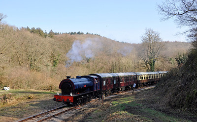 """Hunslet Austerity 3806 """"Wilbert"""" heads for Whitecroft having just departed from Norchard."""