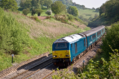 67001 heading south at Penyclawdd with the 1V31 05:32 Holyhead to Cardiff Central WAG.