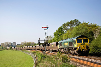 66510 heads the 6M55  Portbury to Rugeley PS, seen here near Tram Inn on the 22nd of May 2012.