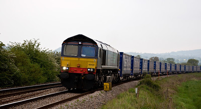 DRS 66430 with 4M36 Wentloog to Daventry 'Tesco Express' on the 20th of May 2012. Seen just south of Tram Inn. Normally routed back via Lydney though this time and the previous week it's been returning via the Marches.