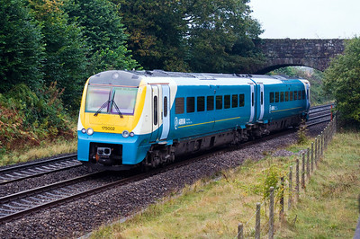 175002 with the 06:28 Holyhead to Cardiff Central service. Seen here south of Abergavenny on a miserable grey 10th of October 2012.