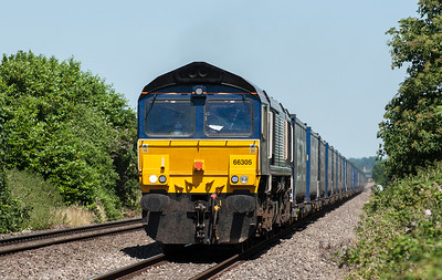 66 305 with the 10:47 Daventry to Wentloog Tesco train at Alvington.