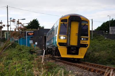 158831 with the  17:45 Pwllheli to Machynlleth passing Llandanwg station.