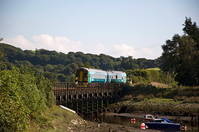 158829 crosses the Afon Artro with the 12:08 Birmingham International to Pwllheli service. Seen here just before arriving at Pensarn station which is stop by request. Nobody requested it.