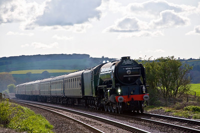 "60163 ""Tornado"" with a special from Paddington to Shrewsbury via the Marches on the 12th of May 2012. Seen here just south of Onibury on the return journey."