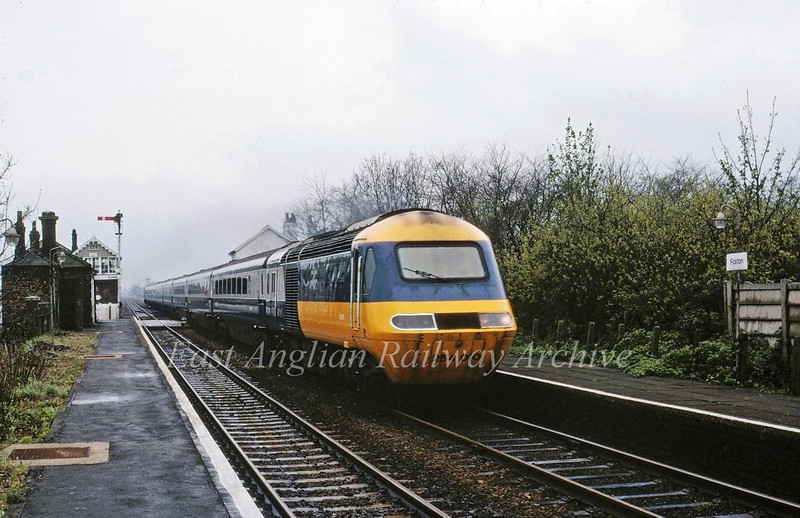 A Sunday East Coast Main Line Diversion between Hitchin and Peterborough via Cambridge and Ely sees an HST set pass Foxton. The working is the 1000 Kings Cross to Edinburgh.  26th April 1981.