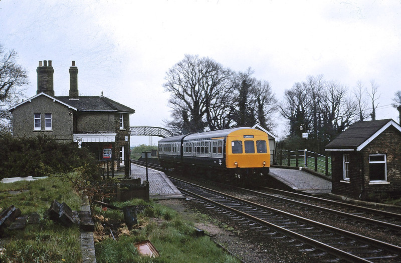 A refurbished class 101 forming a Cambridge to Royston shuttle service was recorded at Meldreth on a rather dull 26th April 1981.