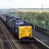 East Coast Main Line diversion at Meldreth in September 1981. Unknown class 55 is KIngs Cross bound.