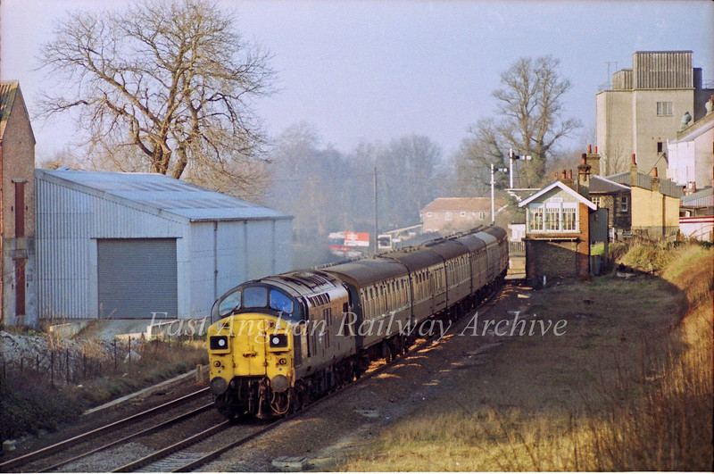 37050 passes Shelford with the 1537 Cambridge to Liverpool Street. 23rd February 1980