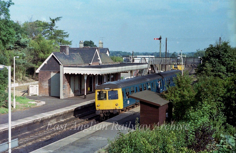 The 1014 Cambridge to Bishops Stortford arrives at Whittlesford.  16th September 1978