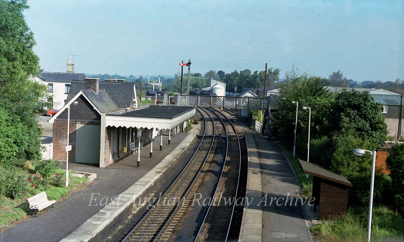 Whittlesford viewed from the road bridge.  16th September 1978